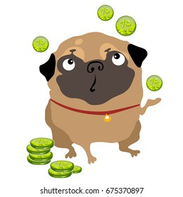 Funny dog pug throws up the green chips or coins isolated on a white background. Vector cartoon close-up illustration.