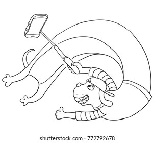 Funny dog taking selfie with monopod. Hand drawn vector sketch.
