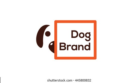 Funny dog vector logo template. Dog illustration. Veterinary brand. Pet shop sign.