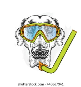 Funny dog wearing a mask for diving. Vector illustration for greeting card, poster, or print on clothes.