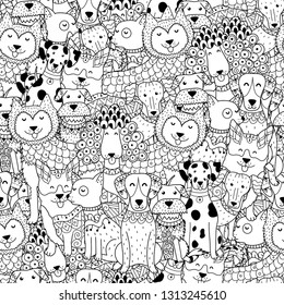 Funny dogs black and white seamless pattern. Great for coloring page, prints, backgrounds, textile and fabric. Vector illustration