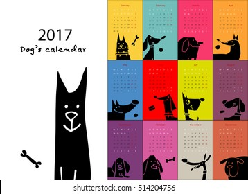 Funny dogs, calendar 2017 design