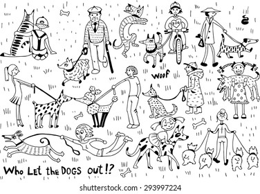 Funny Dogs with Owners Set