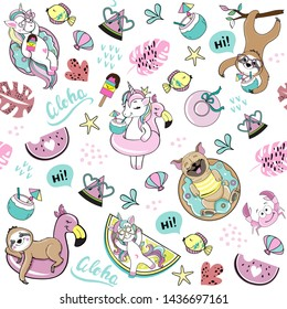 Funny dogs pug, unicorn and sloth summer seamless pattern on white background