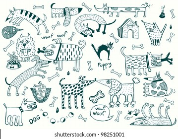 Funny Dogs Set, Pen on Paper (Vector)