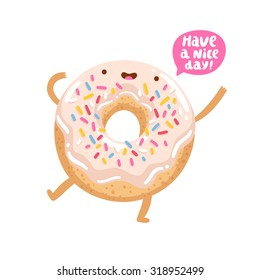 Funny donut character wishing you a good day