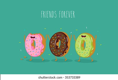 Funny donuts. Vector illustration. Friends forever.