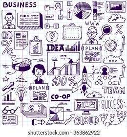 Funny Doodle Business Set. Vector Hand Drawn Illustration. School Notebook.