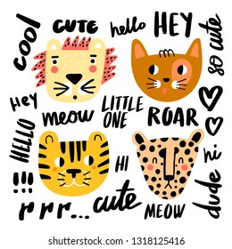 Funny doodle cats collection - guepard, lion, cat and tiger. Vector illustration set of cute cartoon cat species of animals. Cute lettering. Vector set.