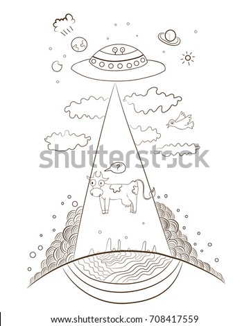 Funny Doodle Cow Abduction Ufo Coloring Stock Vector Royalty Free