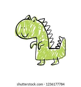 Funny doodle cute dinosaur. Baby stylish art, nursery wallpaper. Vector illustration.
