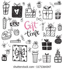 Funny doodle gift boxes holiday icons collection. Hand kids drawn skethes. Gift time, lettering