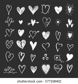 Funny doodle hearts icons collection. Hand drawn Valentines day, wedding design.