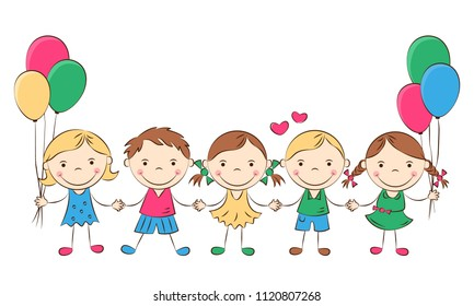 Funny doodle kids with colored balloons. Happy cartoon boys and girls hold hands. Holidays, vacations, weekends. Vector illustration