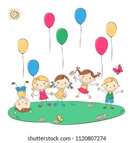 Funny doodle kids with colored balloons. Happy cartoon boys and girls. Holidays, vacations, weekends. Vector illustration