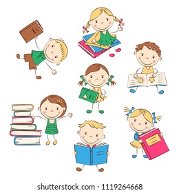 Funny doodle kids with colored books. Happy cartoon boys and girls. Education and school concept. Vector illustration