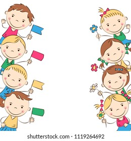 Funny doodle kids with colored flags and flowers. Happy cartoon boys and girls. Holidays, vacations, weekends. Vector illustration