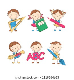 Funny doodle kids with different school supplies. Happy cartoon boys and girls. Education and school concept. Vector illustration
