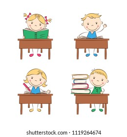 Funny doodle kids sit at school desks in classroom. Happy cartoon boys and girls in class. Education and school concept. Vector illustration