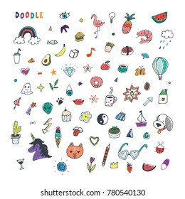 funny doodle objects vector illustrations set