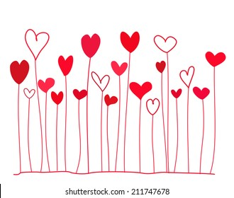 Funny doodle red hearts on stems. Vector illustration