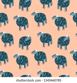 Funny doodle sheep seamless pattern. Decorative elements suitable for fabric print, stationery, backgrounds and cloths prints.