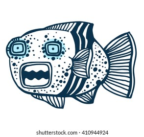 Funny doodle style fish. Vector illustration