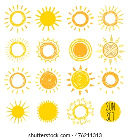 Funny doodle suns. Hand drawn vector  set.