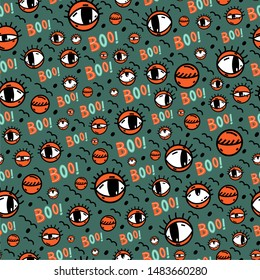 Funny doodles seamless pattern in vector. Cute coloring cartoon eyes background with boo quote lettering. Good for Halloween party wrapping paper, background fill or textile design.