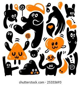Funny doodles set. Vector illustration.