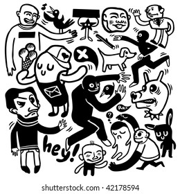 Funny doodles. Vector illustration.