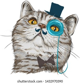 Funny drawing of a cat's head. Cat with a monocle and a hat. With a bow tie. British muzzle. Striped gray-brown beast. Brown eyes, bright eyes. Looks businesslike. Looking up. Cat aristocrat. Vector.