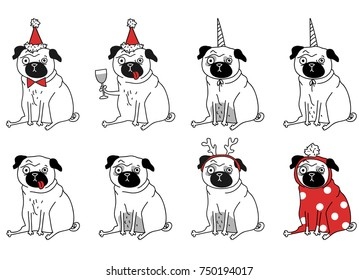 funny drawings of pugs. New Year pugs in different suits. Vector illustration