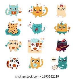 Funny drawn cartoon cats play guitar, sing, relax, play, wash hands, smile, jump, do sport, take exercise, make noise. Vector collection with domestic kitten.