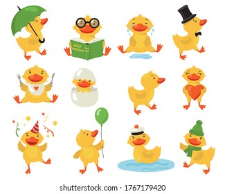 Funny duckling set. Cute yellow baby duck practicing different activities. Student or teacher bird reading book. Vector illustrations for cartoon character, bird, preschool education concept