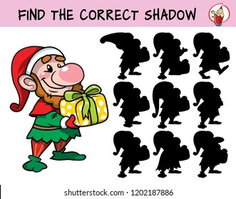 Funny dwarf with a christmas gift. Find the correct shadow. Educational matching game for children. Cartoon vector illustration