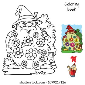 Funny dwarf with flowers in his beard. Coloring book. Cartoon vector illustration