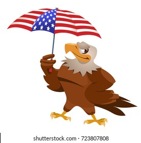 Funny eagle with American flag umbrella. Cartoon styled vector illustration. Isolated on white. No transparent objects.