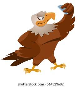 Funny eagle making selfie. Cartoon styled vector illustration.