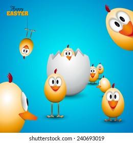 Funny Easter eggs chicks - background illustration - Happy easter card