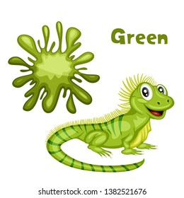 Funny Educational Set for Kids. Learning Colors. Iguana is Green. Cartoon Isolated Animals with Color Splash