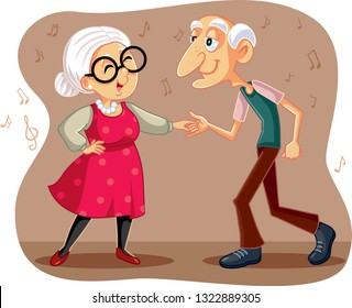 Funny  Elderly Couple Dancing Vector Cartoon. Grandfather and grandmother celebrating wedding anniversary