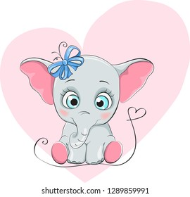 funny elefant with blue bow for design