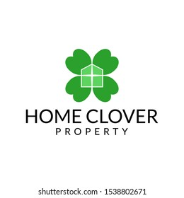 funny elegant home clover logo