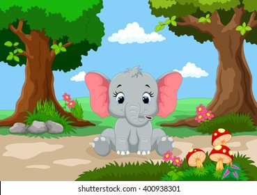 Funny elephant with a background of a beautiful garden