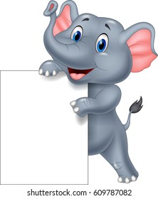 Funny elephant cartoon holding blank sign