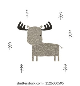 Funny elk in the forest. Scandinavian graphic. Vector hand drawn illustration.