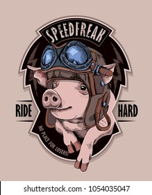Funny emblem. Pig in a retro leather biker helmet. Vector illustration.