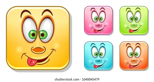 Funny Emoji with tongue sticking out. Emoticons collection. Colorful smiley set. Avatar symbol, internet message or chat icon, sign for web mobile app, logo, label, patch, sticker.