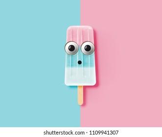 Funny emoticon on realistic icecream illustration, vector illustration